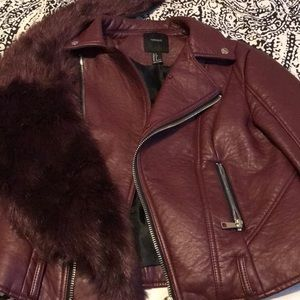 Forever 21 wine color faux leather jacket